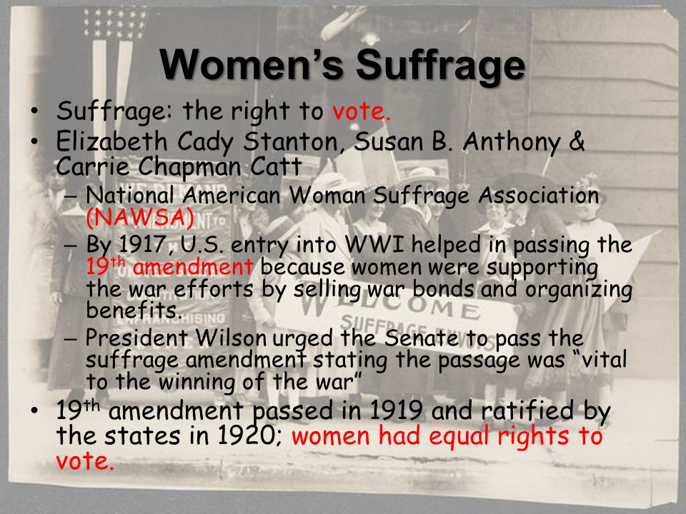 Women's Suffrage Suffrage: the right to vote. Elizabeth Cady Stanton, Susan B.