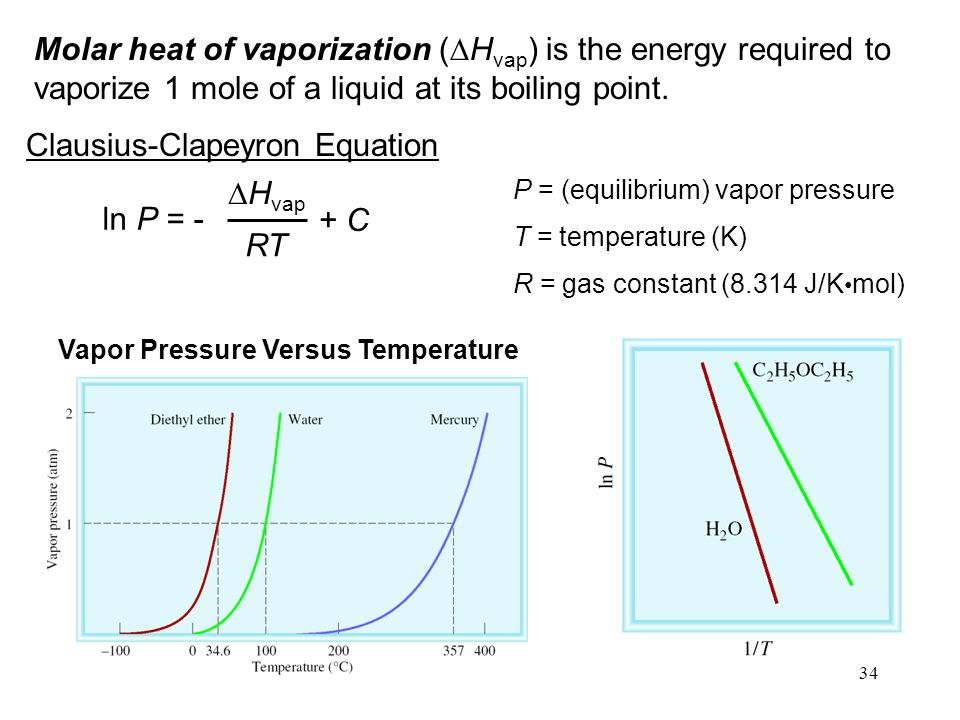 34 Molar heat of vaporization (  H vap ) is the energy required to vaporize 1 mole of a liquid at its boiling point.