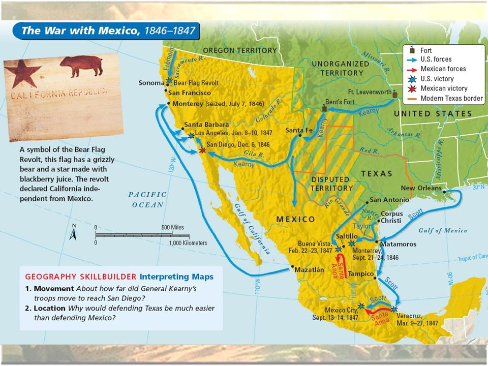 The Mexican American War Ppt Video Online Download - Us-map-before-mexican-american-war