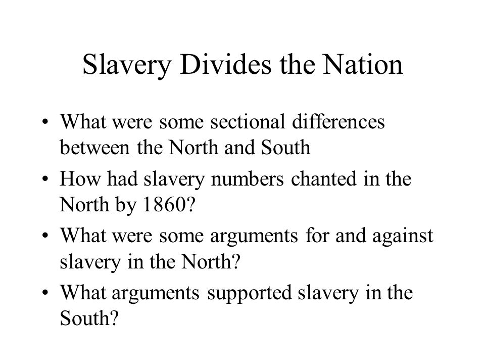 north arguments against slavery