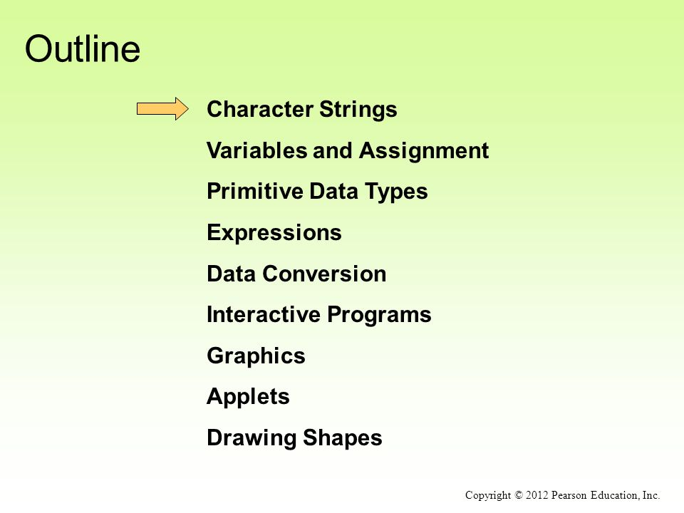 Outline Character Strings Variables and Assignment Primitive Data Types Expressions Data Conversion Interactive Programs Graphics Applets Drawing Shapes Copyright © 2012 Pearson Education, Inc.