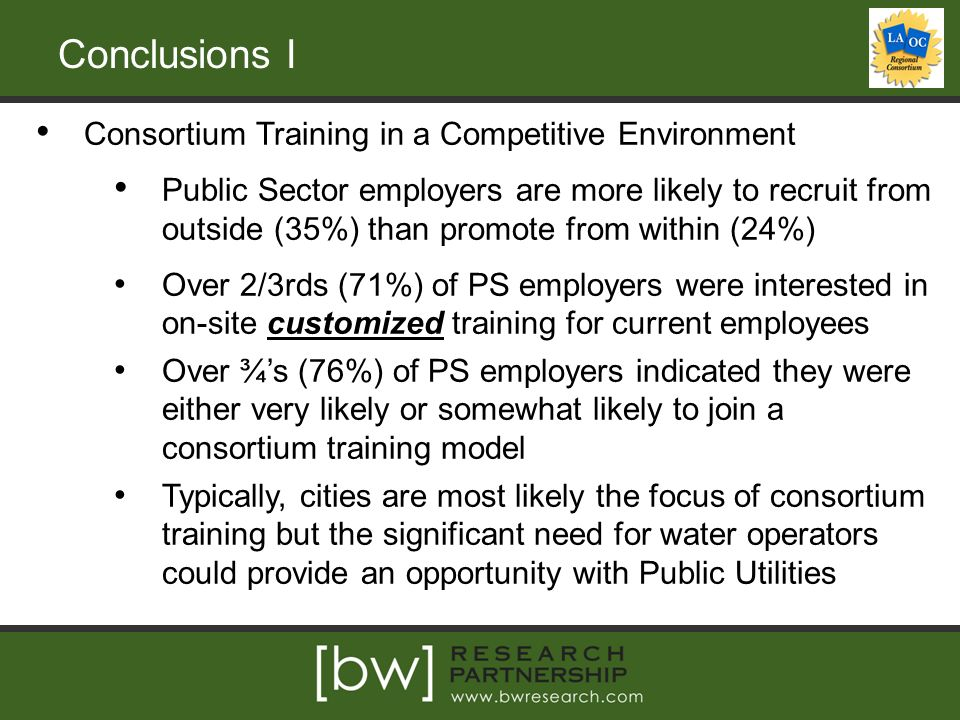 Conclusions I Consortium Training in a Competitive Environment Public Sector employers are more likely to recruit from outside (35%) than promote from within (24%) Over 2/3rds (71%) of PS employers were interested in on-site customized training for current employees Over ¾'s (76%) of PS employers indicated they were either very likely or somewhat likely to join a consortium training model Typically, cities are most likely the focus of consortium training but the significant need for water operators could provide an opportunity with Public Utilities