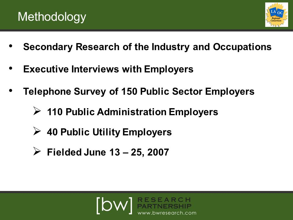 Methodology Secondary Research of the Industry and Occupations Executive Interviews with Employers Telephone Survey of 150 Public Sector Employers  110 Public Administration Employers  40 Public Utility Employers  Fielded June 13 – 25, 2007