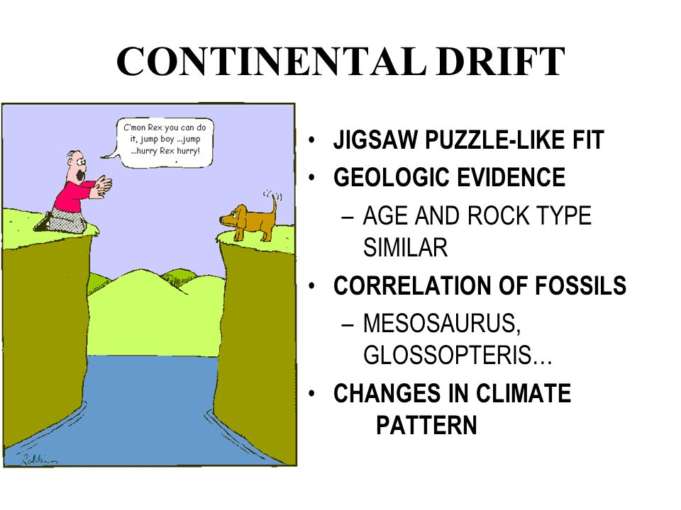 CONTINENTAL DRIFT JIGSAW PUZZLE-LIKE FIT GEOLOGIC EVIDENCE –AGE AND ROCK TYPE SIMILAR CORRELATION OF FOSSILS –MESOSAURUS, GLOSSOPTERIS… CHANGES IN CLIMATE PATTERN