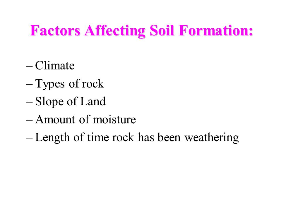 Factors Affecting Soil Formation: –Climate –Types of rock –Slope of Land –Amount of moisture –Length of time rock has been weathering