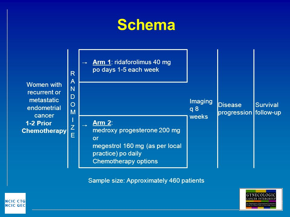 Schema Sample size: Approximately 460 patients Arm 2: medroxy progesterone 200 mg or megestrol 160 mg (as per local practice) po daily Chemotherapy options Survival follow-up Disease progression Imaging q 8 weeks Arm 1: ridaforolimus 40 mg po days 1-5 each week RANDOMIZERANDOMIZE Women with recurrent or metastatic endometrial cancer 1-2 Prior Chemotherapy