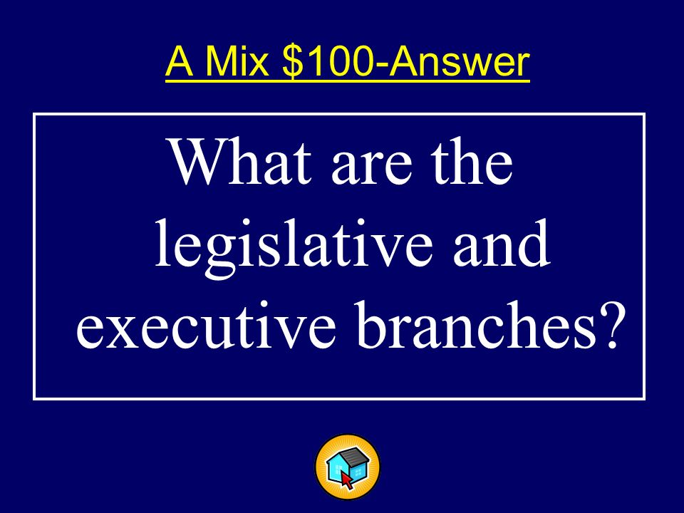 A Mix $100$100 Fiscal policy is determined by these branches of government.