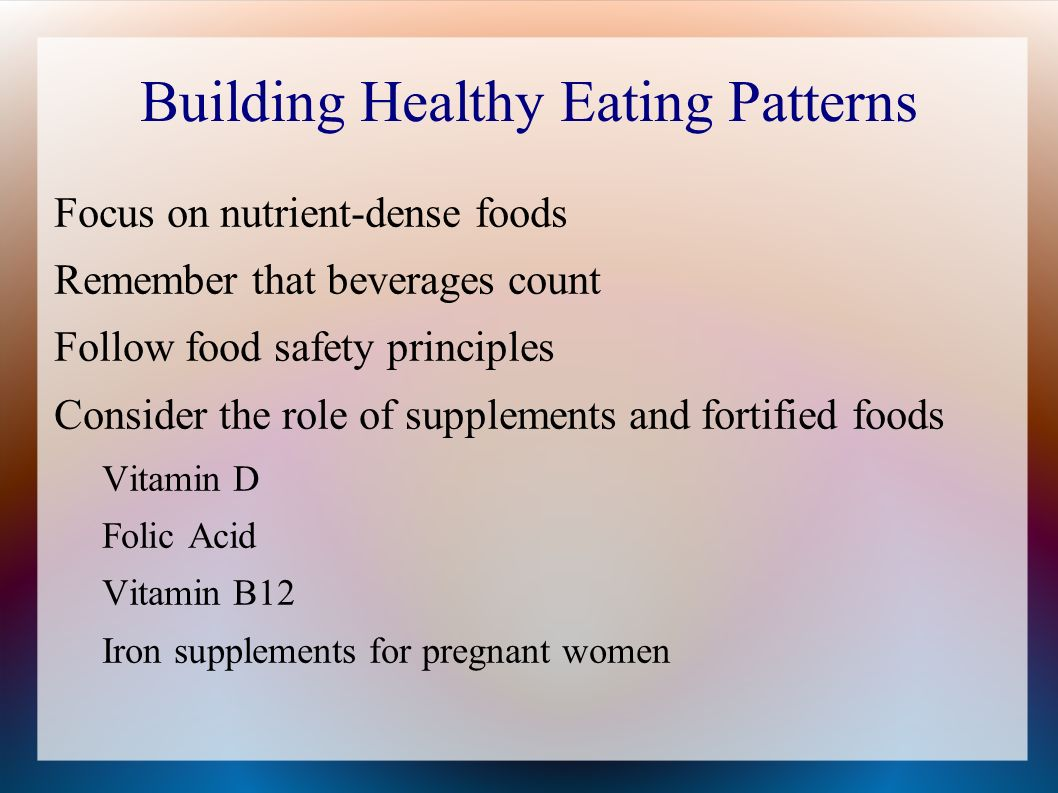 Building Healthy Eating Patterns Focus on nutrient-dense foods Remember that beverages count Follow food safety principles Consider the role of supplements and fortified foods Vitamin D Folic Acid Vitamin B12 Iron supplements for pregnant women