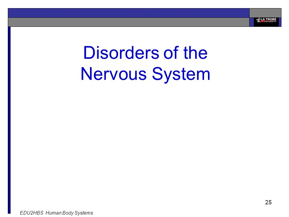 EDU2HBS Human Body Systems 25 Disorders of the Nervous System