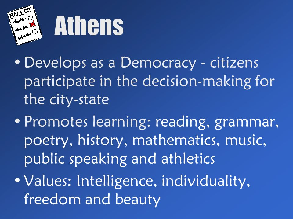 Athens Develops as a Democracy - citizens participate in the decision-making for the city-state Promotes learning: reading, grammar, poetry, history, mathematics, music, public speaking and athletics Values: Intelligence, individuality, freedom and beauty