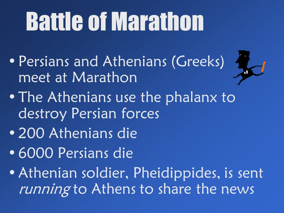 Battle of Marathon Persians and Athenians (Greeks) meet at Marathon The Athenians use the phalanx to destroy Persian forces 200 Athenians die 6000 Persians die Athenian soldier, Pheidippides, is sent running to Athens to share the news