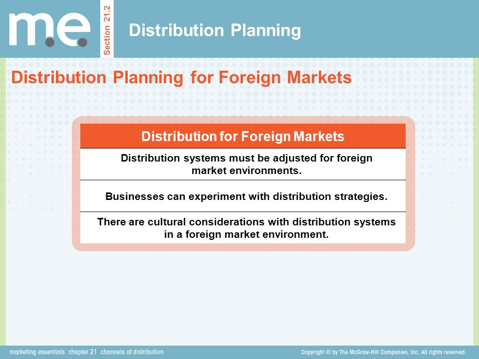Distribution Planning Section 21.2 Distribution Planning for Foreign Markets Distribution for Foreign Markets Distribution systems must be adjusted for foreign market environments.