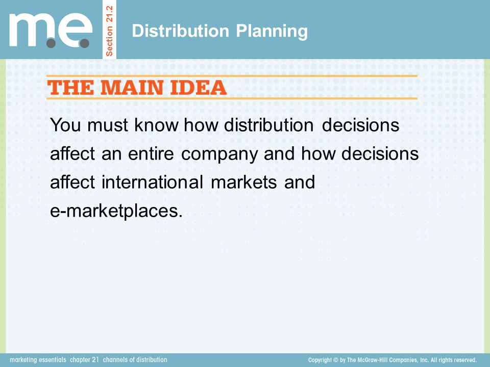 You must know how distribution decisions affect an entire company and how decisions affect international markets and e-marketplaces.