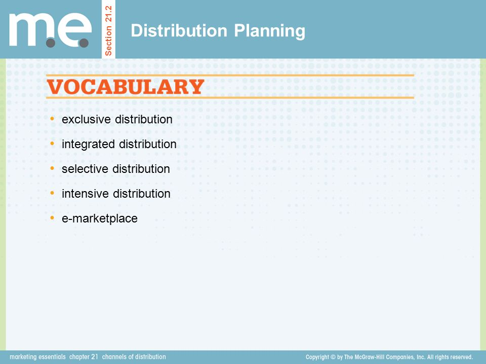 exclusive distribution integrated distribution selective distribution intensive distribution e-marketplace Distribution Planning Section 21.2