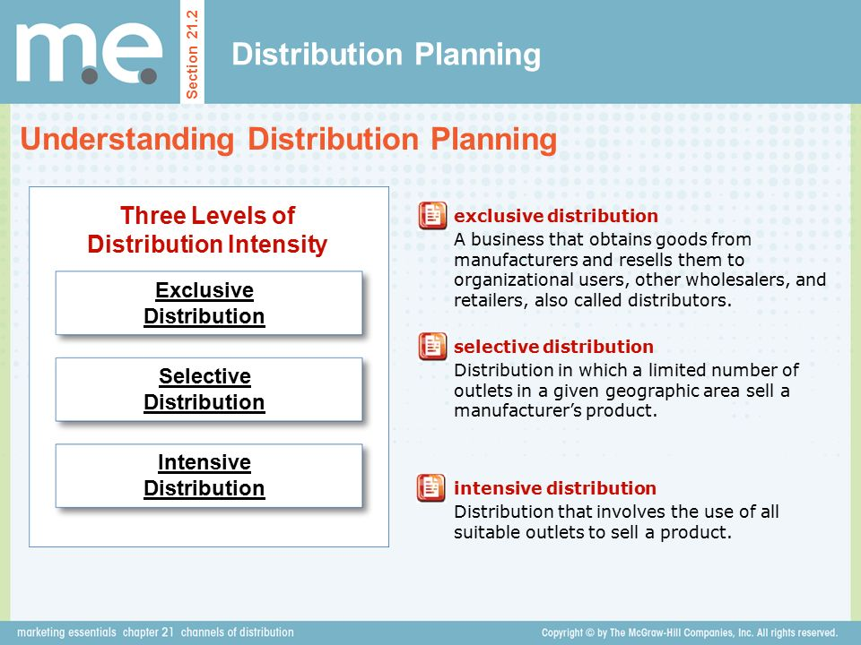 Distribution Planning Section 21.2 Understanding Distribution Planning exclusive distribution A business that obtains goods from manufacturers and resells them to organizational users, other wholesalers, and retailers, also called distributors.
