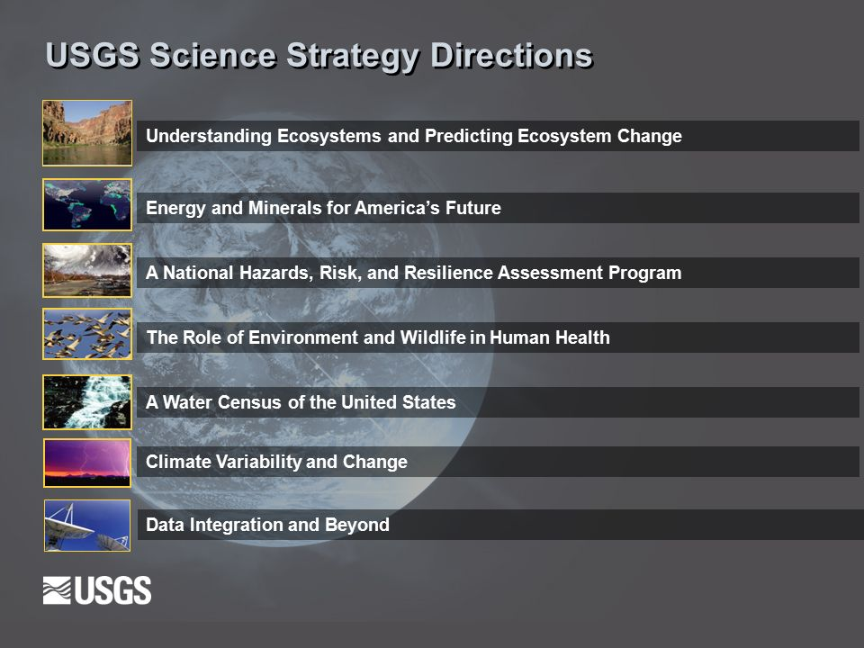 USGS Science Strategy Directions Understanding Ecosystems and Predicting Ecosystem Change Climate Variability and Change Energy and Minerals for America's Future A National Hazards, Risk, and Resilience Assessment Program The Role of Environment and Wildlife in Human Health A Water Census of the United States Data Integration and Beyond
