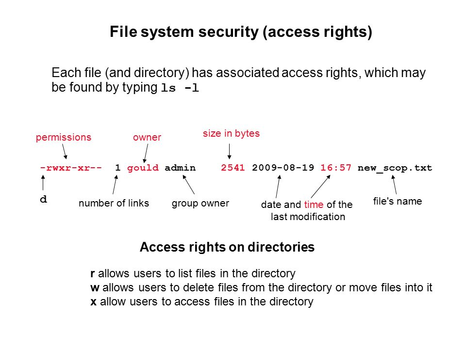 File system security (access rights) -rwxr-xr-- 1 gould admin :57 new_scop.txt Each file (and directory) has associated access rights, which may be found by typing ls -l permissions number of links owner group owner size in bytes date and time of the last modification file s name r allows users to list files in the directory w allows users to delete files from the directory or move files into it x allow users to access files in the directory Access rights on directories d