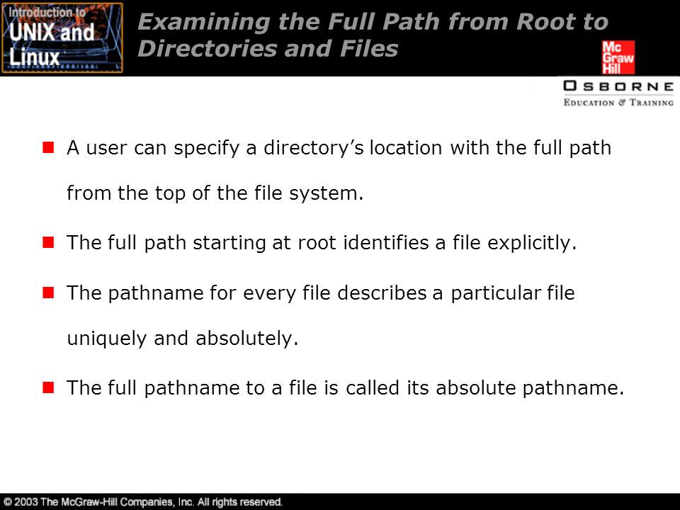 Examining the Full Path from Root to Directories and Files A user can specify a directory's location with the full path from the top of the file system.