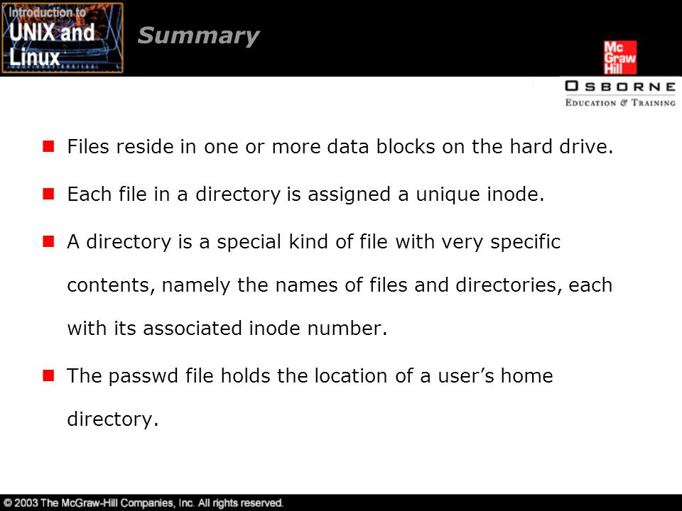 Summary Files reside in one or more data blocks on the hard drive.