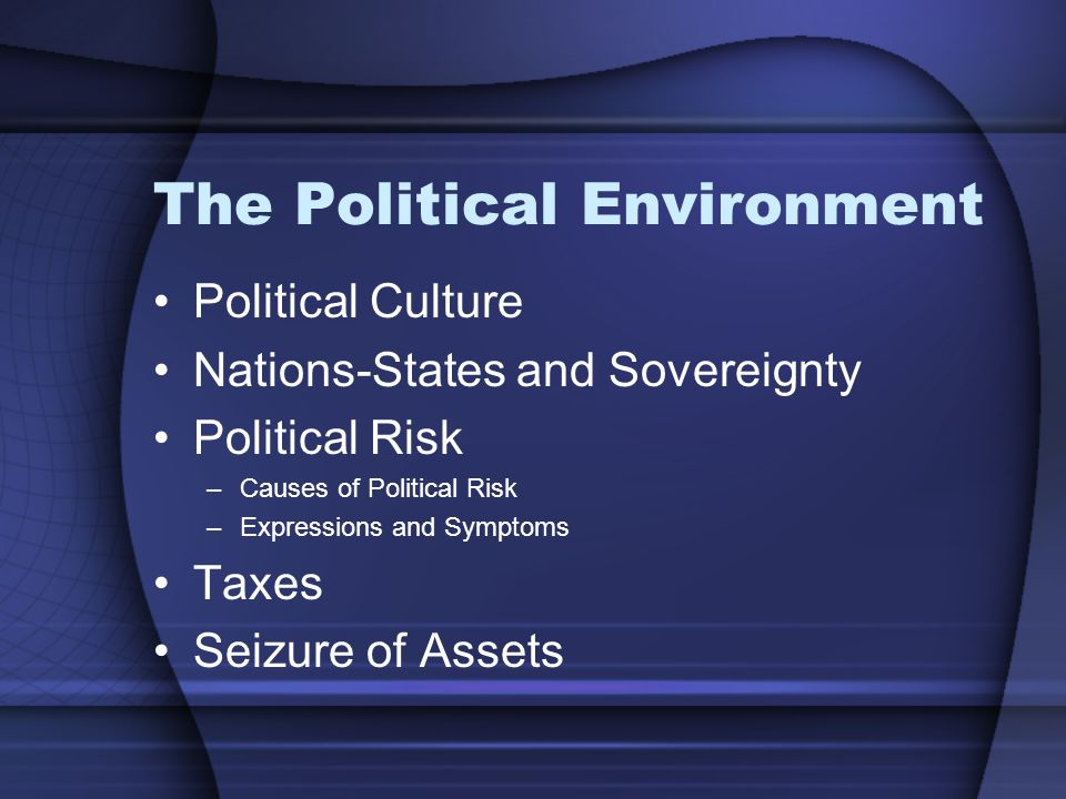 The Political Environment Political Culture Nations-States and Sovereignty Political Risk –Causes of Political Risk –Expressions and Symptoms Taxes Seizure of Assets