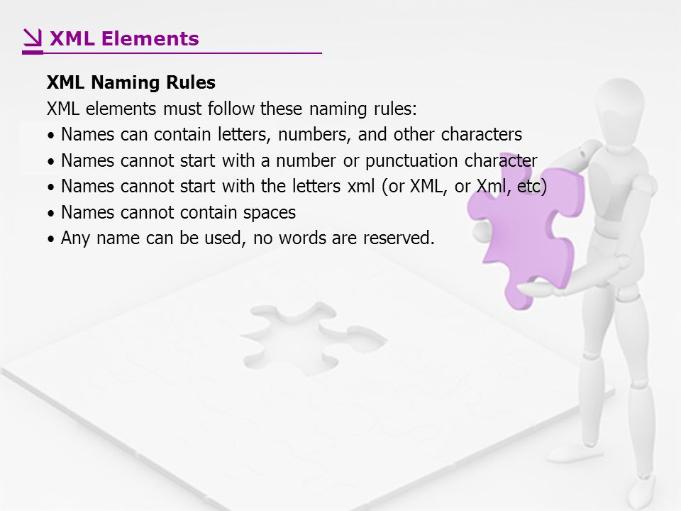 XML Naming Rules XML elements must follow these naming rules: Names can contain letters, numbers, and other characters Names cannot start with a number or punctuation character Names cannot start with the letters xml (or XML, or Xml, etc) Names cannot contain spaces Any name can be used, no words are reserved.