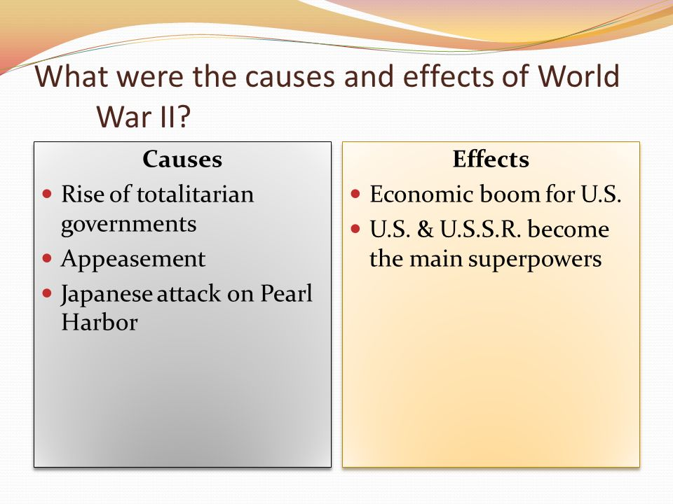 world war two causes and effects
