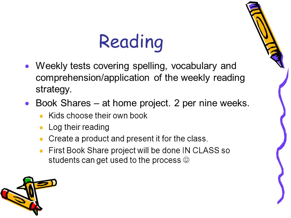Reading  Weekly tests covering spelling, vocabulary and comprehension/application of the weekly reading strategy.