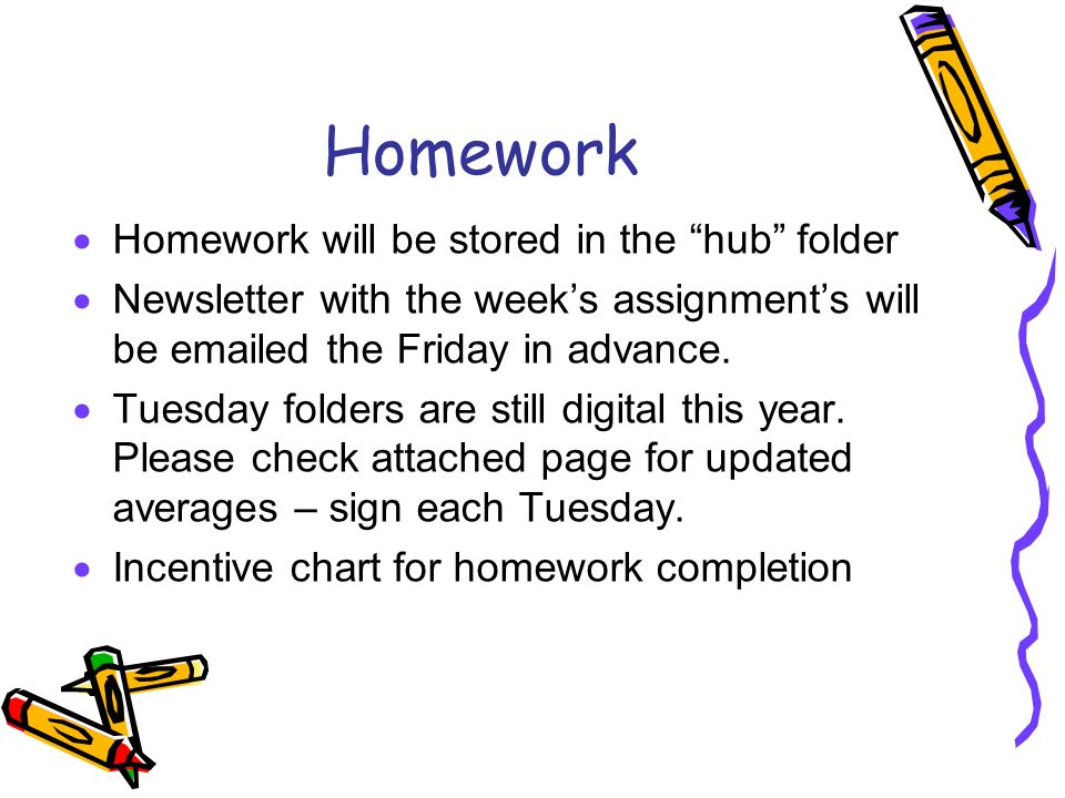 Homework  Homework will be stored in the hub folder  Newsletter with the week's assignment's will be  ed the Friday in advance.