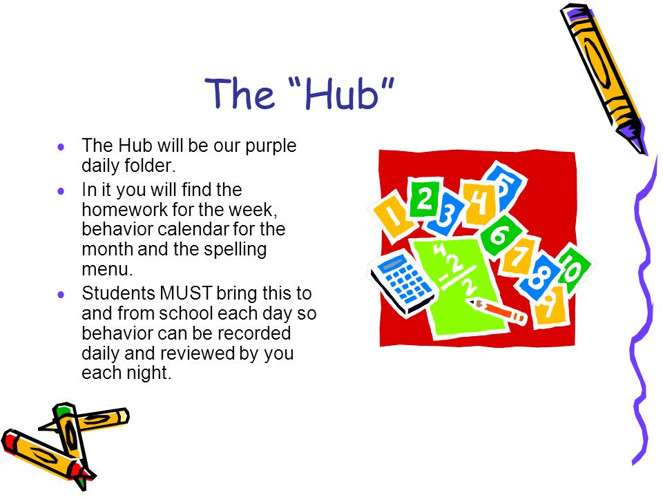The Hub  The Hub will be our purple daily folder.