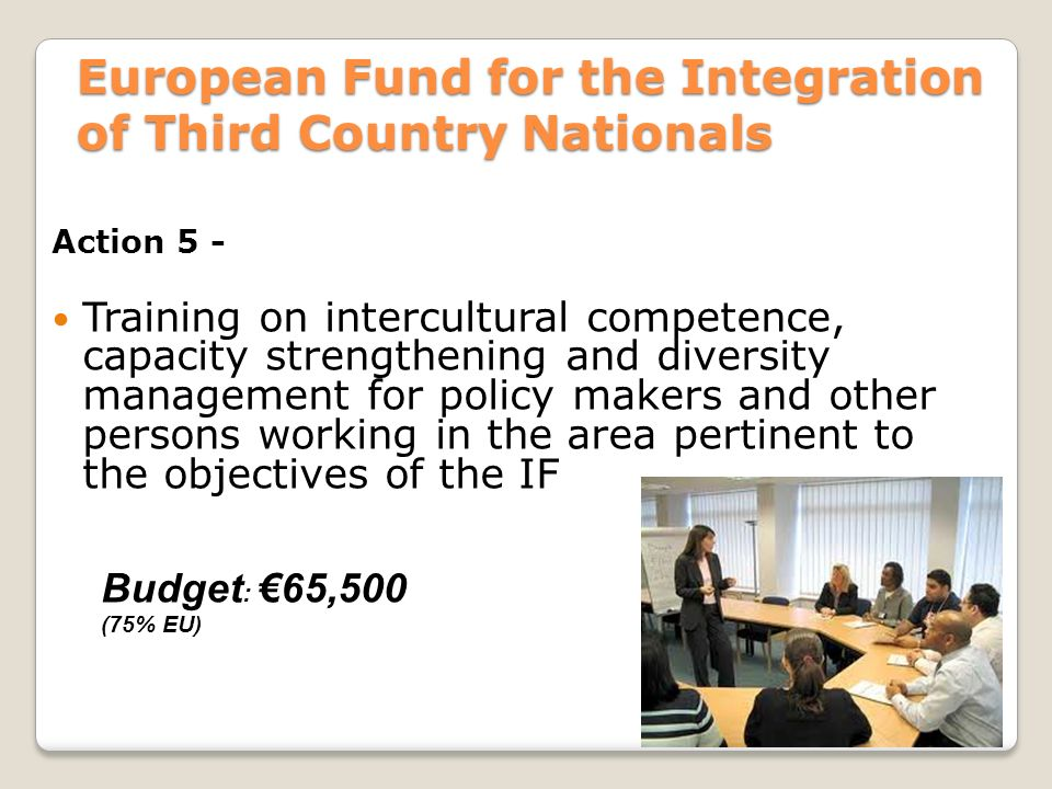 European Fund for the Integration of Third Country Nationals Action 5 - Training on intercultural competence, capacity strengthening and diversity management for policy makers and other persons working in the area pertinent to the objectives of the IF Budget : €65,500 (75% EU)