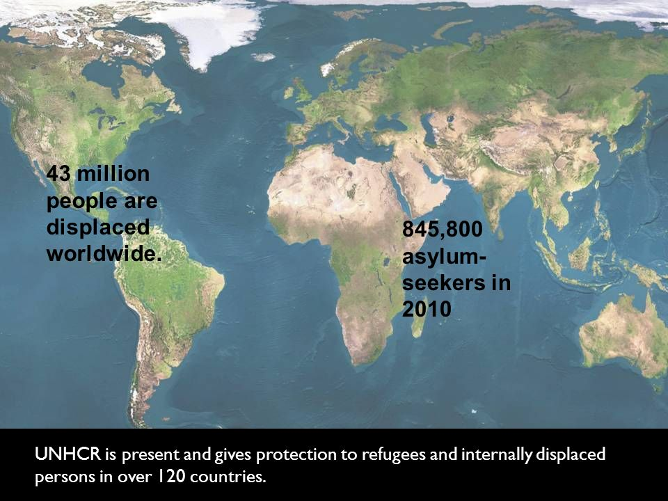 UNHCR is present and gives protection to refugees and internally displaced persons in over 120 countries.