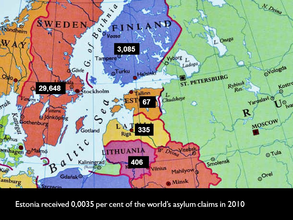 Estonia received 0,0035 per cent of the world's asylum claims in million people are displaced worldwide.