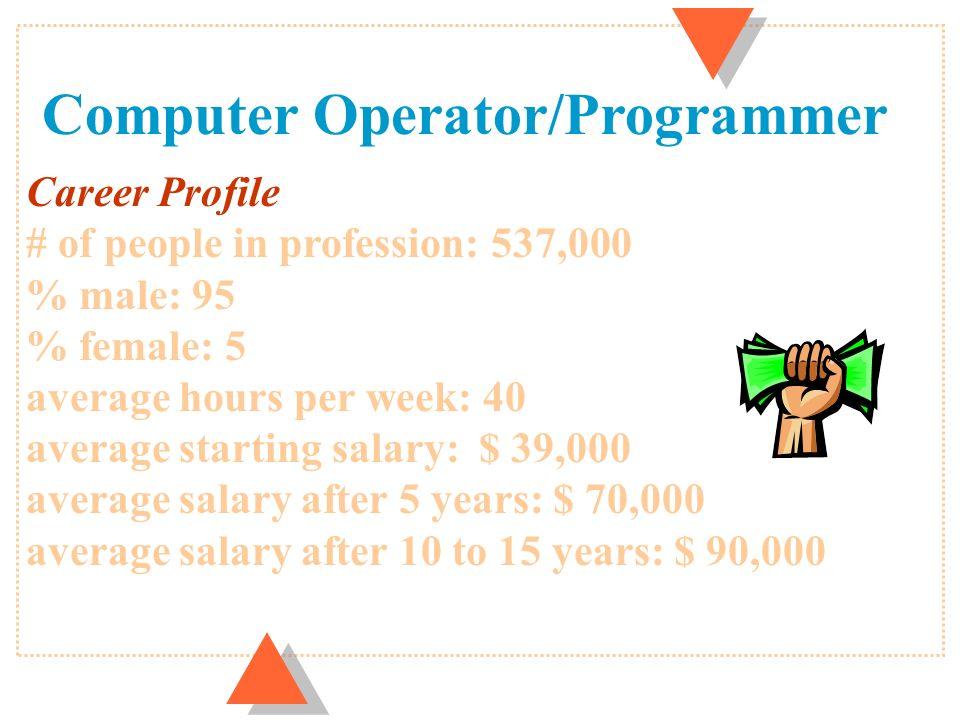 U Computer Engineer Systems Analyst Operator Programmer