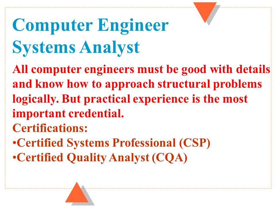U Computer Engineersystems Analyst U Computer Operatorprogrammer U