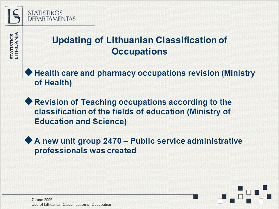 Updating of Lithuanian Classification of Occupations  Health care and pharmacy occupations revision (Ministry of Health)  Revision of Teaching occupations according to the classification of the fields of education (Ministry of Education and Science)  A new unit group 2470 – Public service administrative professionals was created 7 June 2005 Use of Lithuanian Classification of Occupation