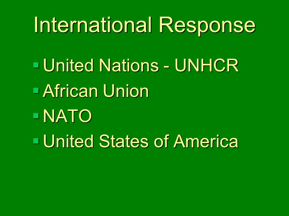 International Response  United Nations - UNHCR  African Union  NATO  United States of America