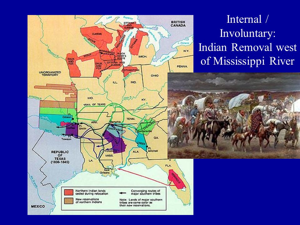 Internal / Involuntary: Indian Removal west of Mississippi River