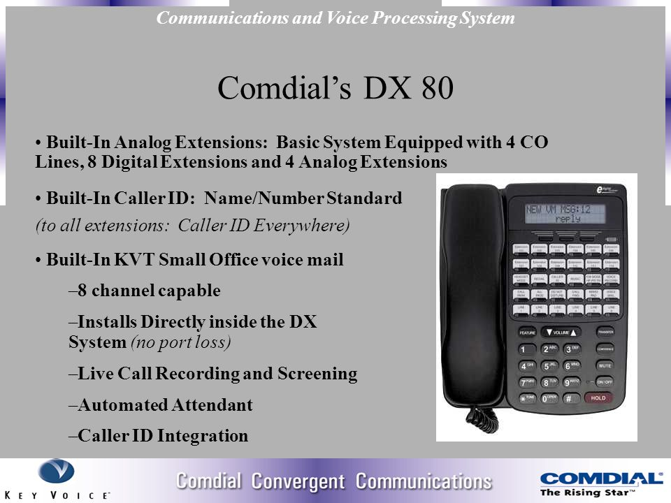 Comdial dx80 dx 80 7271 k5988 voice mail w/ 64 mb on popscreen.