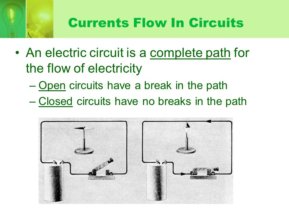 Currents Flow In Circuits An electric circuit is a complete path for the flow of electricity –Open circuits have a break in the path –Closed circuits have no breaks in the path