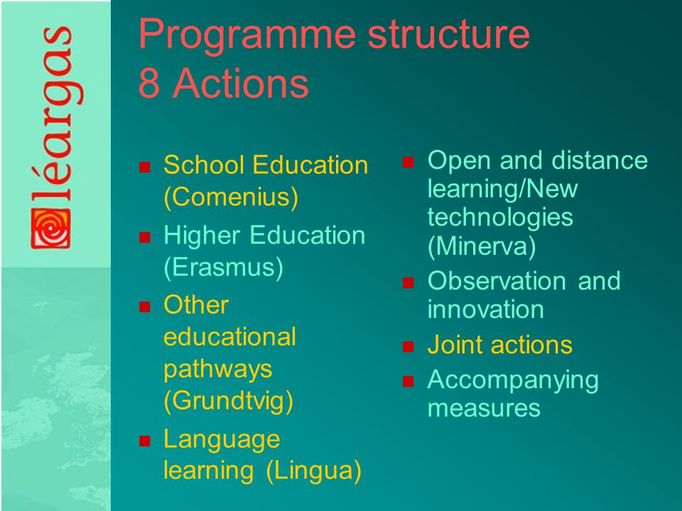Programme structure 8 Actions School Education (Comenius) Higher Education (Erasmus) Other educational pathways (Grundtvig) Language learning (Lingua) Open and distance learning/New technologies (Minerva) Observation and innovation Joint actions Accompanying measures