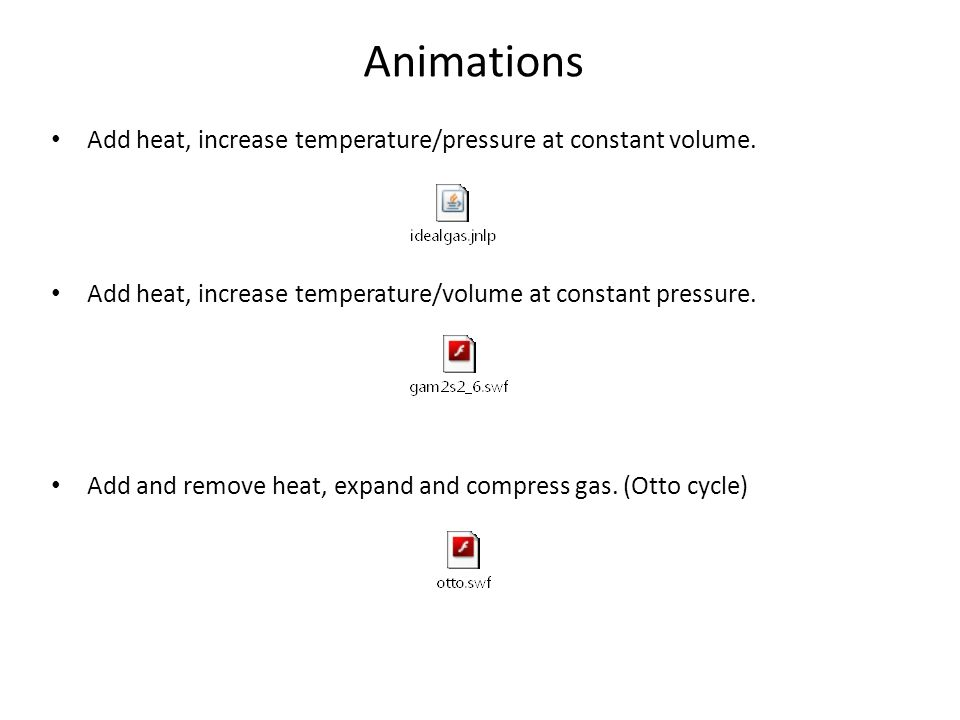 Animations Add heat, increase temperature/pressure at constant volume.