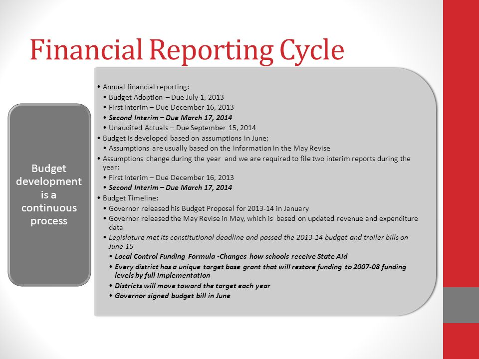 Financial Reporting Cycle Annual financial reporting: Budget Adoption – Due July 1, 2013 First Interim – Due December 16, 2013 Second Interim – Due March 17, 2014 Unaudited Actuals – Due September 15, 2014 Budget is developed based on assumptions in June; Assumptions are usually based on the information in the May Revise Assumptions change during the year and we are required to file two interim reports during the year: First Interim – Due December 16, 2013 Second Interim – Due March 17, 2014 Budget Timeline: Governor released his Budget Proposal for in January Governor released the May Revise in May, which is based on updated revenue and expenditure data Legislature met its constitutional deadline and passed the budget and trailer bills on June 15 Local Control Funding Formula -Changes how schools receive State Aid Every district has a unique target base grant that will restore funding to funding levels by full implementation Districts will move toward the target each year Governor signed budget bill in June Budget development is a continuous process