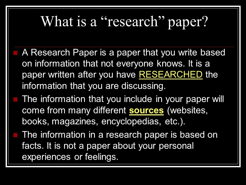 written research paper