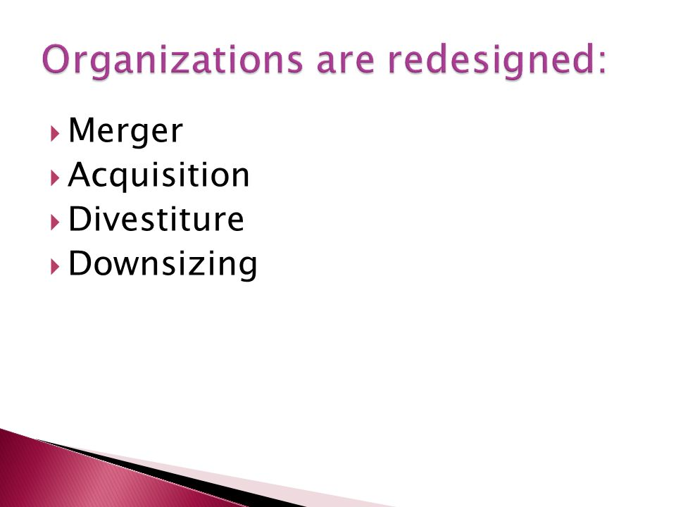  Merger  Acquisition  Divestiture  Downsizing