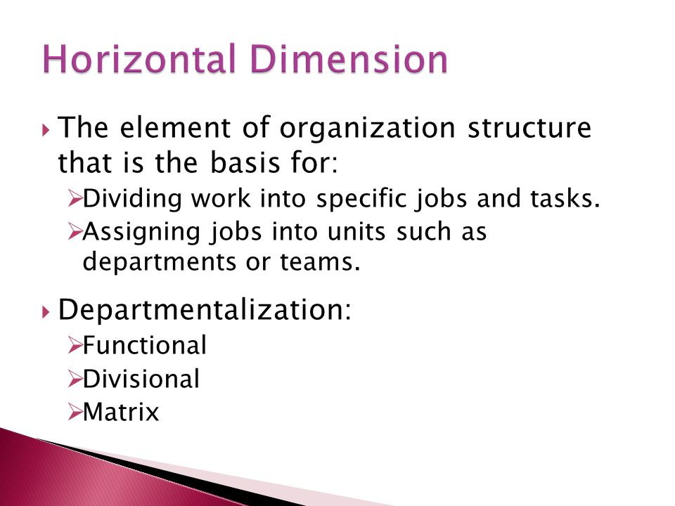  The element of organization structure that is the basis for:  Dividing work into specific jobs and tasks.