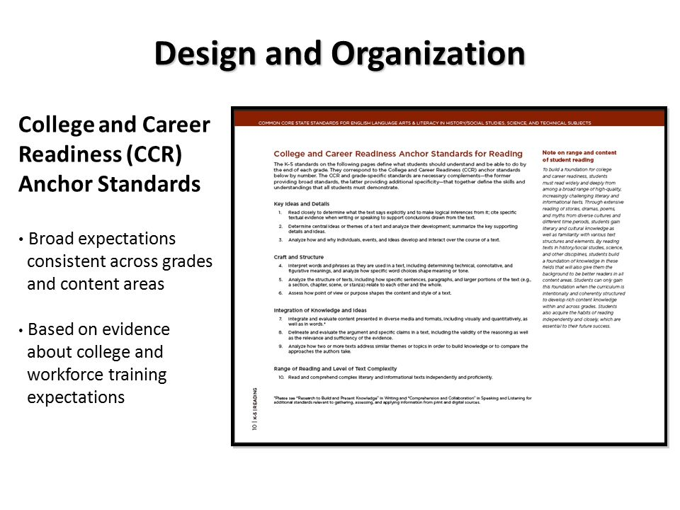 Design and Organization College and Career Readiness (CCR) Anchor Standards Broad expectations consistent across grades and content areas Based on evidence about college and workforce training expectations