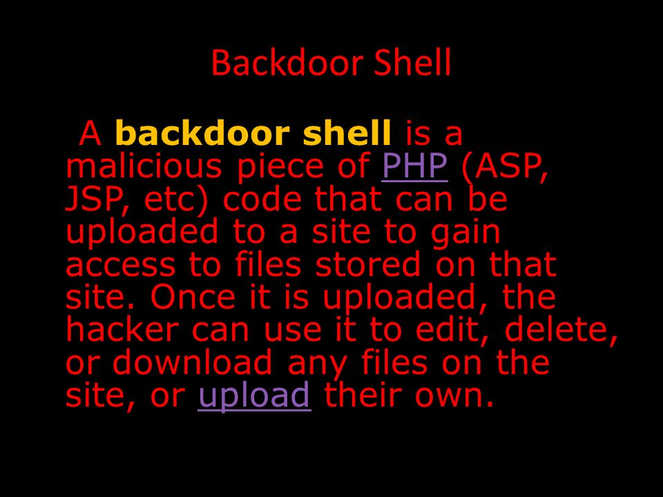 Demystifying Backdoor Shells and IRC Bots: The Risk … By : Jonathan