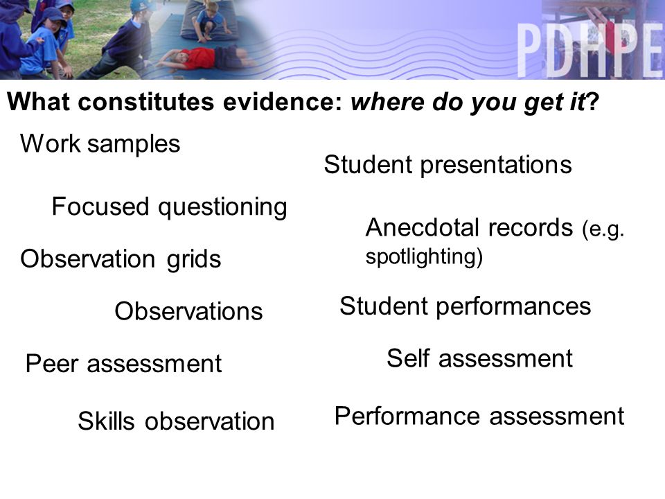 What constitutes evidence: where do you get it. Observations Anecdotal records (e.g.