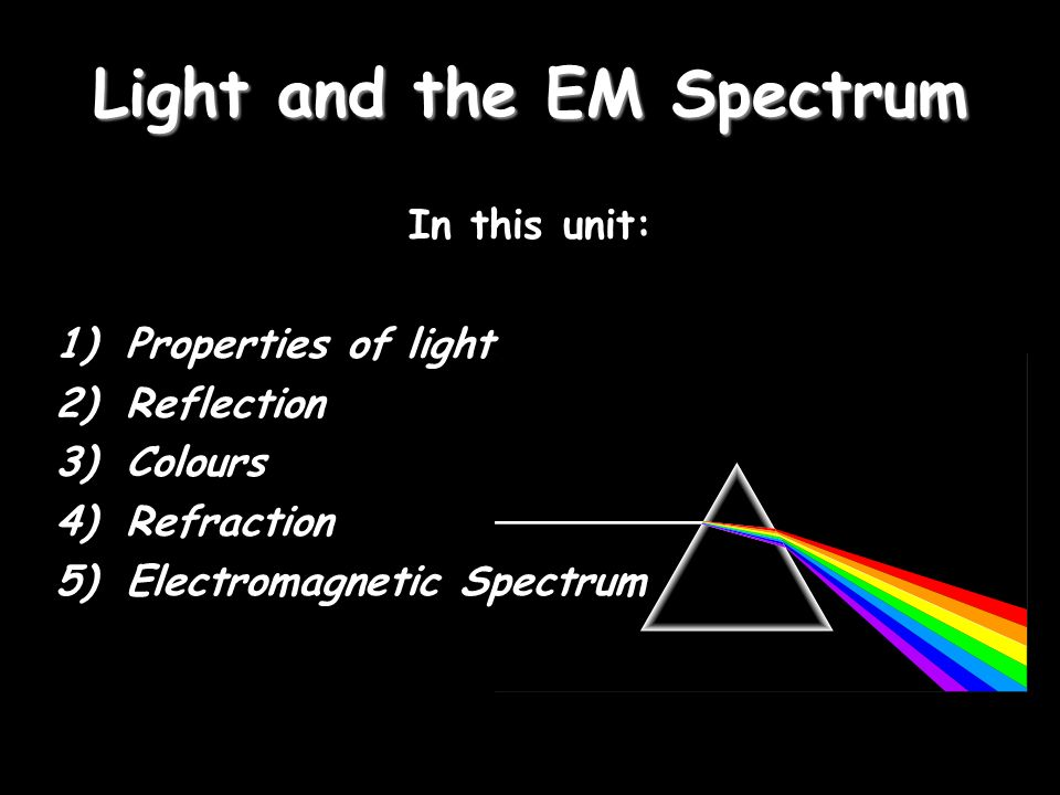 Light and the EM Spectrum In this unit: 1)Properties of light 2)Reflection 3)Colours 4)Refraction 5)Electromagnetic Spectrum
