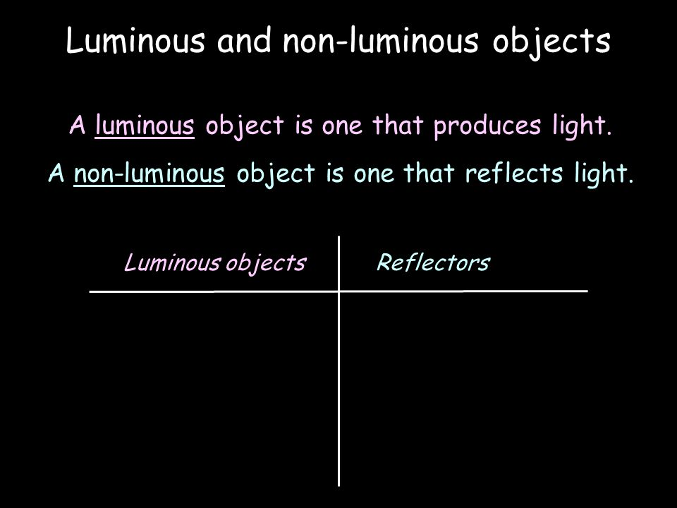 Luminous and non-luminous objects A luminous object is one that produces light.